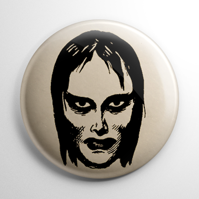 Vintage Halloween Mask Vampire Girl Button