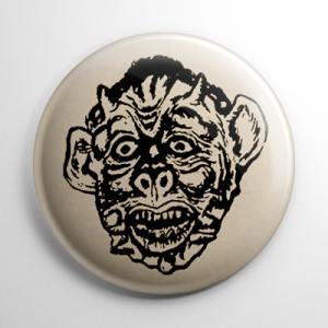Vintage Halloween Mask Werewolf Button