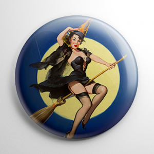 Halloween Pin Up - Witch Button