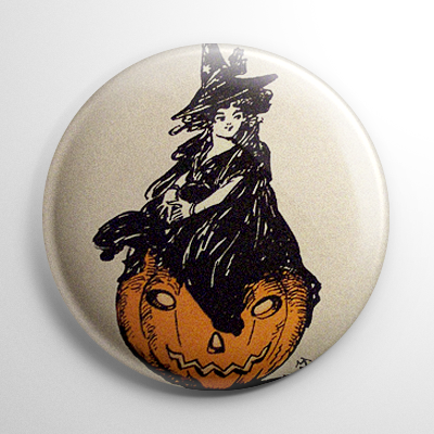 Vintage Halloween - Witch on a Pumpkin Button