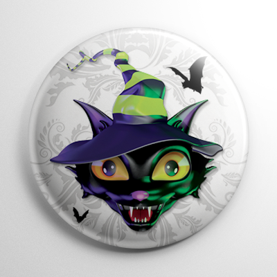 Vintage Halloween - Witchy Kitty Button