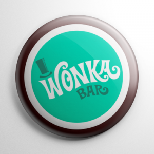 Willy Wonka & the Chocolate Factory Wonka Bar (E) Button