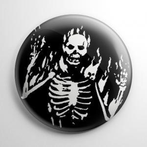13 Ghosts - Flaming Skeleton Button