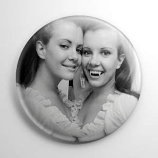 Scream Queens - Twins of Evil Mary & Madeleine Collinson B&W (B) Button