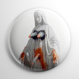 Exorcist Virgin Mary Statue Button