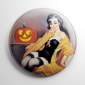 Halloween Pin Up - Lounging with Pumpkin Button