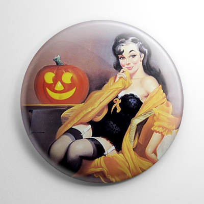 Halloween Pin Up – Lounging with Pumpkin Button