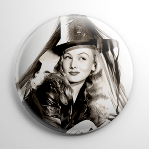 Halloween Pin Up - Veronica Lake (B) Button