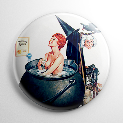 Halloween Pin Up - Witch Bath Button