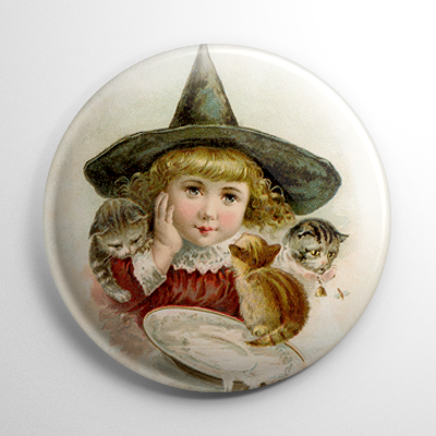 Vintage Halloween - Witch with Kittens Button