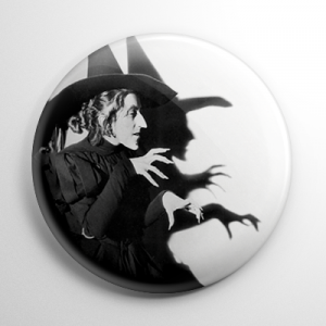 Wizard of Oz - Wicked Witch of the West B&W Button