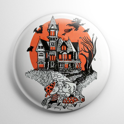 Vintage Halloween - Haunted House Trick or Treaters Button