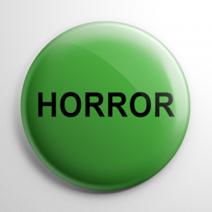 VHS Video Tape Horror Sticker Button