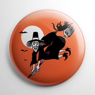 Vintage Halloween - Witch with Falling Cat Button
