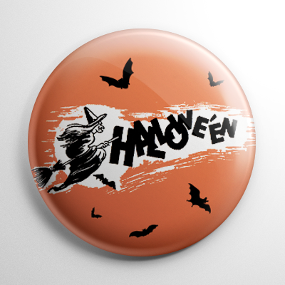 Vintage Halloween - Witch on a Broom Button
