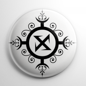 Ragnarök Rune / Wolf's Hook (White) Button