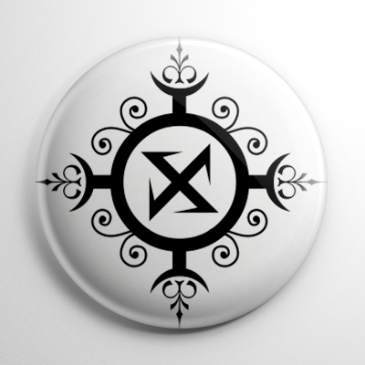 Ragnark Rune Wolfs Hook White Button Horror Buttons