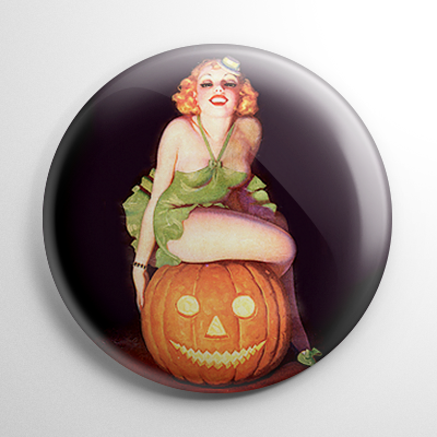 Halloween Pin Up - Flapper on a Pumpkin Button