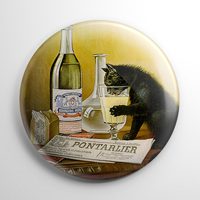 Absinthe - Bourgeois Black Cat Button