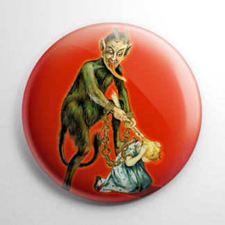 Krampus Pulling Girl's Ponytail Button