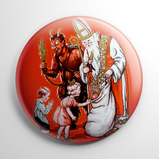 Krampus & St. Nick Giving Gifts Button