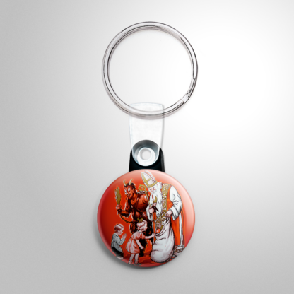 Christmas - Krampus & St. Nick Giving Gifts Keychain
