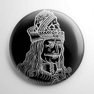 Vlad the Impaler Etching (Black) Button