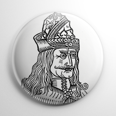 Vlad the Impaler Etching (White) Button