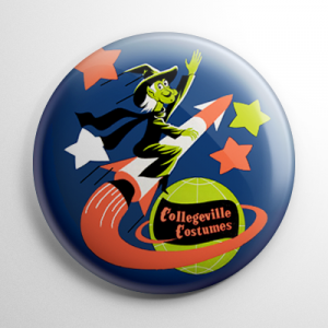 Vintage Collegeville Witch Rocket Button