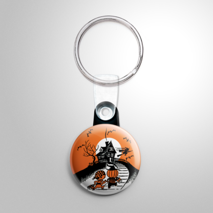 Vintage Halloween - Haunted House Trick or Treaters (B) Keychain