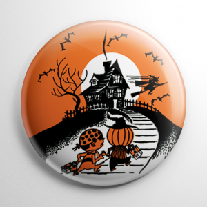 Vintage Halloween - Haunted House Trick or Treaters (B) Button