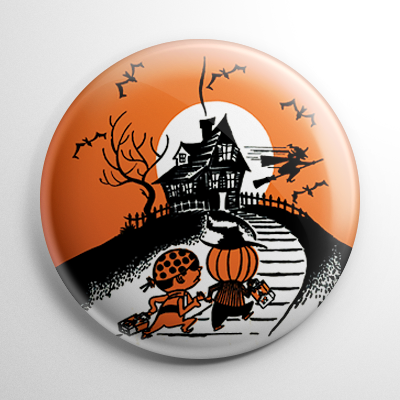 Vintage Halloween – Haunted House Trick or Treaters (B) Button