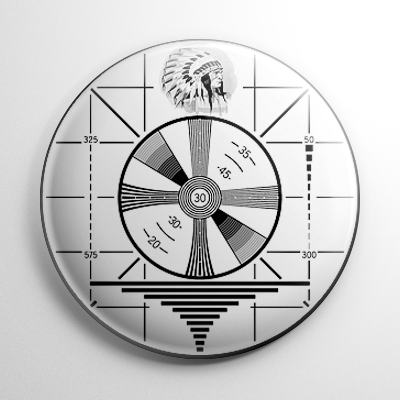 Television Indian Head Test Pattern Button