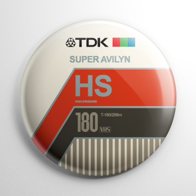 VHS Video Tape Label (A) Button