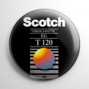 VHS Video Tape Label (C) Button