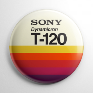 VHS Video Tape Label (D) Button