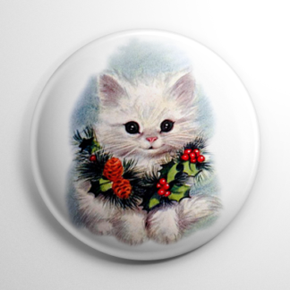 Christmas - Kitty in a Wreath Button