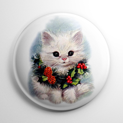 Christmas – Kitty in a Wreath Button