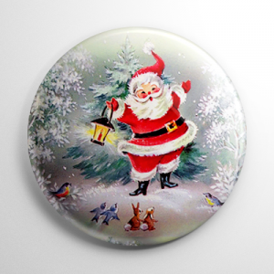Christmas - Santa Claus in the Woods Button