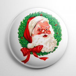 Christmas - Santa Claus Wreath Button