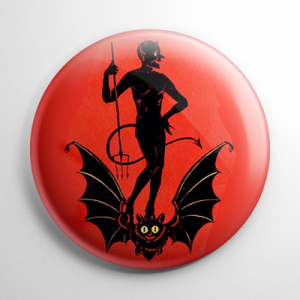 Vintage Halloween - Devil on a Bat Button