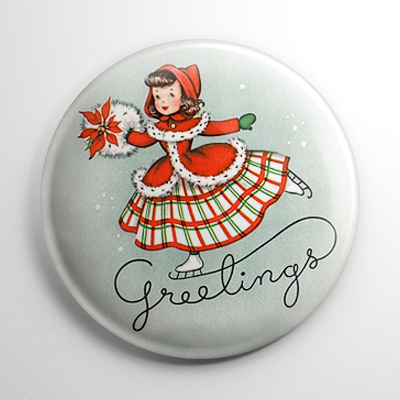 Christmas – Ice Skater Greetings Button