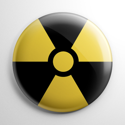 Radiation Hazard Symbol Button