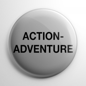 VHS Video Tape Action Adventure Sticker Button