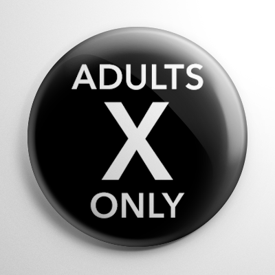VHS Video Tape Adults Only Sticker Button