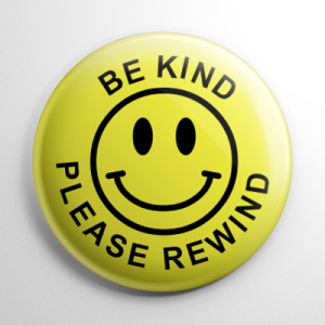 VHS Video Tape Be Kind Rewind Sticker Button