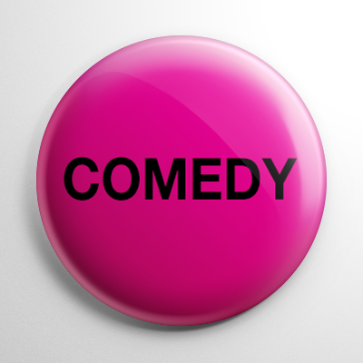 VHS Video Tape Comedy Sticker Button