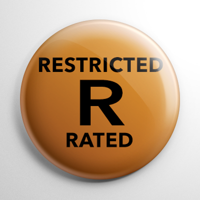 VHS Video Tape Rated R Sticker Button
