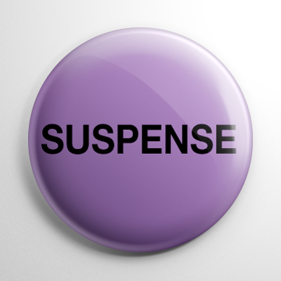 VHS Video Tape Suspense Sticker Button