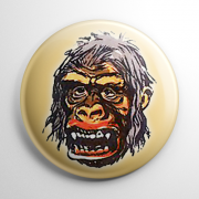 Vintage Halloween Mask King Kong (Color) Button